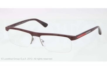 Prada PS04CV Progressive Prescription Eyeglasses QFD1O1-53 - Bordeaux Demi Shiny Frame