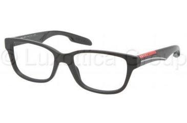 Prada PS06CV Single Vision Prescription Eyeglasses 1BO1O1-5217 - Black Demi Shiny Frame
