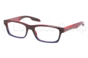 Prada PS07CV Progressive Prescription Eyeglasses LAP1O1-5518 - Bordeaux Gradient Blue Frame, Demo Lens Lenses