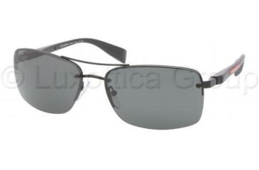 Prada PS50NS Sunglasses 1BO1A1-6216 - Black Demi Shiny Frame, Gray Lenses