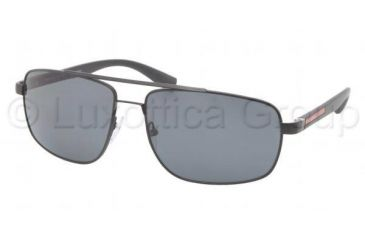 Prada PS55NS Sunglasses 1BO5Z1-6016 - Demi Shiny Black Frame, Gray Lenses