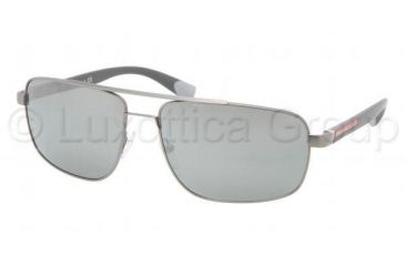 Prada PS55NS Sunglasses 7CQ7W1-6316 - Gunmetal Demi Shiny Frame, Silver Mirror Lenses