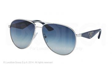 Prada TRIANGLE PR53QS Sunglasses 1BC8Z1-60 - Silver Frame, Light Grey Gradient Dark Blue Lenses