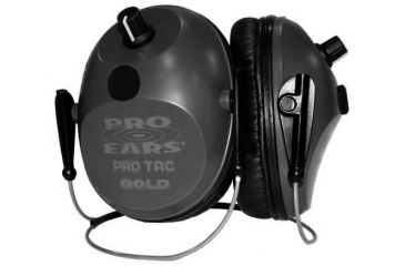Pro-Ears Pro Tac Plus Gold Hearing Protection NRR 26 Ear Muffs, Black w/Lithium 123 Batteries, Behind Head