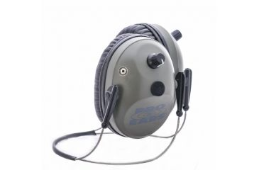 Pro Ears Pro Tac Plus Gold Low Profile NRR 26 Earmuffs, Green, Behind the Head w/ Lithium Batteries