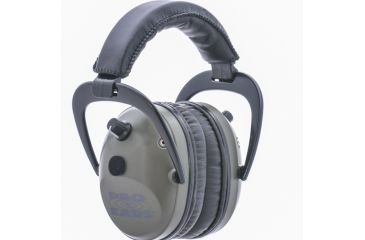 Pro Ears Pro Tac Plus Gold Low Profile NRR 26 Over The Head Earmuffs, Green w/ Lithium Batteries