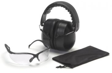 Pyramex Combo Packs Venture II Clear Safety Glasses w/ PYRBAG and PM3010 Ear Muff COMBO10