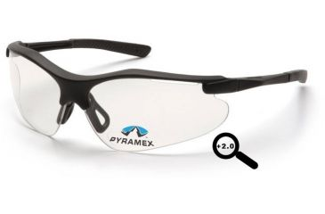 Pyramex Fortress Readers Glasses - Clear + 2.0 Lens, Black Frame SB3710R20