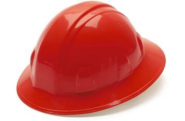 Pyramex Full Brim 4 Point Ratchet Suspension Hard Hat - Red HP24120