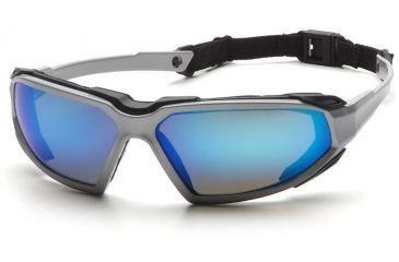 Pyramex Highlander Safety Eyewear - Ice Blue Mirror Anti-Fog Lens, Silver-Black Frame SSB5065DT