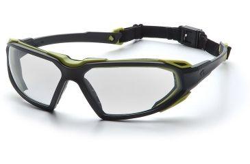 Pyramex Highlander Safety Glasses - Clear Anti-Fog Lens, Black-Lime Frame SBL5010DT