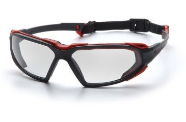Pyramex Highlander Safety Glasses - Clear Anti-Fog Lens, Black-Red Frame SBR5010DT