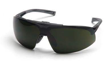 Pyramex Onix Plus Safety Eyewear - Clear Anti-Fog Bottom Lens/ 5.0 IR Filter Flip Lens Lens, Black Frame SB4950STP