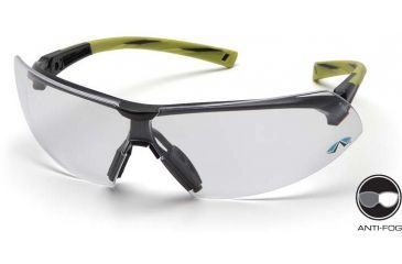 Pyramex Onix Safety Glasses - Clear Anti-Fog Lens, Hi Vis Green Frame SGR4910ST