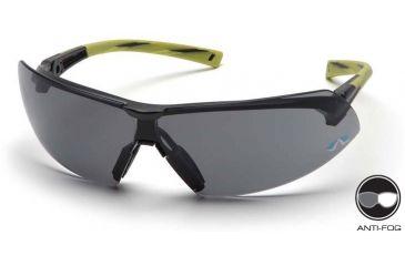 Pyramex Onix Safety Glasses - Gray Anti-Fog Lens, Hi Vis Green Frame SGR4920ST
