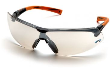 Pyramex Onix Safety Glasses - Indoor/Outdoor Mirror Lens, Orange Frame SO4980S