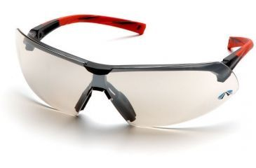 Pyramex Onix Safety Glasses - Indoor/Outdoor Mirror Lens, Red Frame SR4980S