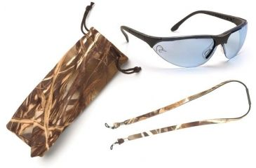 Pyramex Rendezvous Ducks Unlimited Shooting Glasses - Infinity Blue Lens, Black Frame w/ Neoprene Case, Microfiber Cleaning Bag and Camo Breakaway Cords DUSB2860ST3