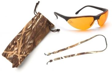 Pyramex Rendezvous Ducks Unlimited Shooting Glasses - Orange Lens, Black Frame w/ Neoprene Case, Microfiber Cleaning Bag and Camo Breakaway Cords DUSB2840ST3