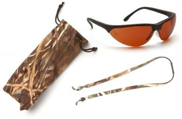 Pyramex Rendezvous Ducks Unlimited Shooting Glasses - Sun Block Bronze Lens, Black Frame w/ Neoprene Case, Microfiber Cleaning Bag and Camo Breakaway Cords DUSB2835ST3