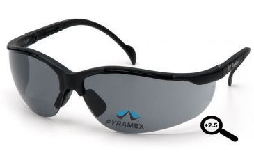 Pyramex V2 Readers Glasses - Gray + 2.5 Lens, Black Frame SB1820R25