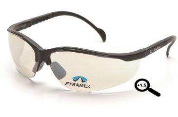 Pyramex V2 Readers Glasses - Indoor/Outdoor Mirror + 1.5 Lens, Black Frame SB1880R15