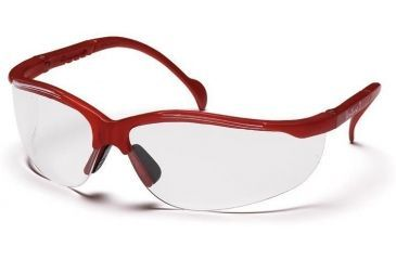 Pyramex Venture II Safety Glasses - Clear Lens, Maroon Frame SMM1810S