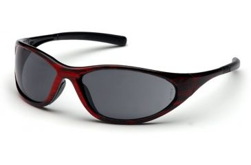 Pyramex Zone II Safety Glasses - Gray Lens, Red Wood Frame SRW3320E