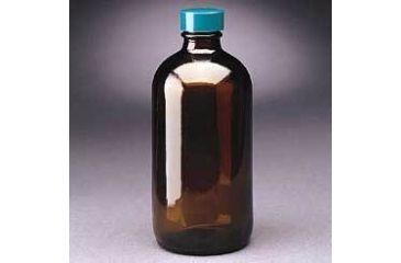 Qorpak Boston Round Bottles, Amber, Narrow Mouth, Qorpak 7718 With Pulp/Vinyl-Lined Black Phenolic Cap