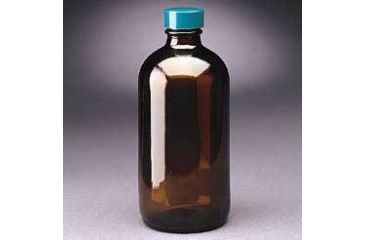 Qorpak Boston Round Bottles, Amber, Narrow Mouth, Qorpak 7722B With Polyseal-Lined Black Phenolic Cap