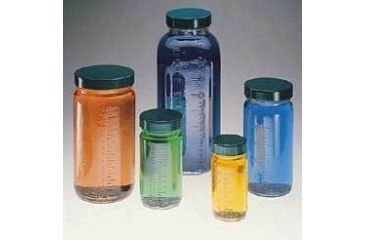Qorpak Bottle Beakers, Medium Rounds, Wide Mouth, Qorpak 7783 With Pulp/Vinyl-Lined Black Phenolic Cap