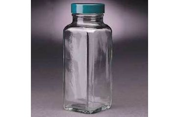 Qorpak French Square Bottles, Wide Mouth, Qorpak 7702A With Tinfoil-Lined Black Phenolic Cap