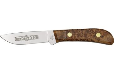 Queen Drop Point Hunter D2 Fixed Knife, satin finish D2 tool steel drop point blade, Maple burl wood handle QN4180MB