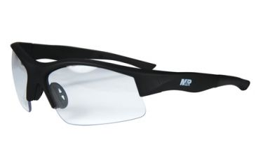 Radians M&P MP104 Shooting Glasses Clear Lens Black Half Frame Rubberized With Zippered Case