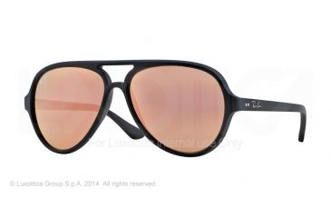 Ray-Ban Cats 5000 Sunglasses RB4125 601SZ2-59 - Matte Black Frame, Brown Mirror Pink Lenses