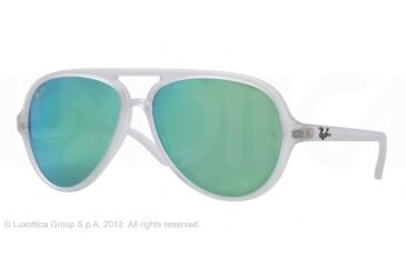 Ray-Ban Cats 5000 Sunglasses RB4125 646/19-5913 - Matte Transparent Frame, Crystal Green Multil Green Mirror Lenses
