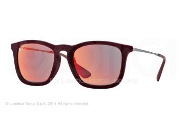 Ray-Ban CHRIS RB4187 Progressive Prescription Sunglasses RB4187-60786Q-54 - Lens Diameter 54 mm, Frame Color Flock Bordeaux