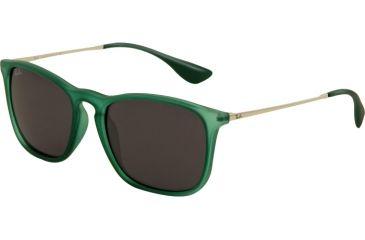 Ray-Ban CHRIS RB4187 Progressive Prescription Sunglasses RB4187-897-87-5418 - Lens Diameter 54 mm, Frame Color Transparent Green Rubber