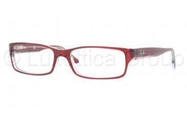 Ray-Ban Eyeglasses RX5114 with Rx Prescription Lenses 5112-5216 - Dark Red Transparent Frame, Demo Lens Lenses