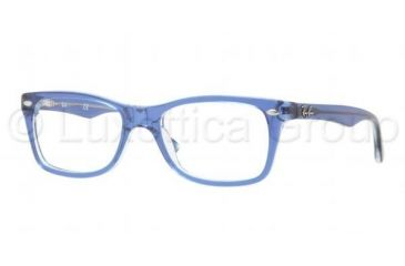 Ray-Ban Eyeglass Frames RX5228 5111-5017 - Top Light Blue on Transparent Frame, Demo Lens Lenses