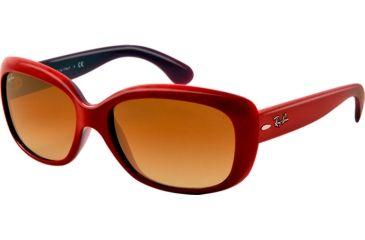 Ray-Ban Jackie OHH RB4101 Sunglasses with No-Line Progressive Rx Prescription Lenses RB4101-603885-58 - Lens Diameter 58 mm, Lens Diameter 58 mm, Frame Color Opal Violet Top Red