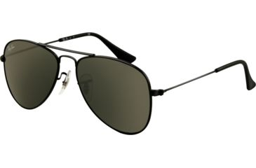 Ray-Ban Junior RJ 9506S Sunglasses Styles - Matte Black Frame / Green Lenses, 201-71-5013