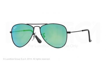 Ray-Ban Junior Sunglasses RJ9506S for Kids 201/3R-50 - Matte Black Frame, Light Green Mirror Green Lenses