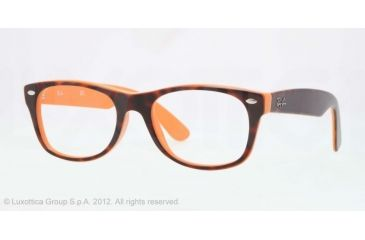 Ray-Ban New Wayfarer Eyeglasses RX5184 with No-Line Progressive Rx Prescription Lenses 5160-50 - Top Dark Havana on Orange Frame, Demo Lens Lenses