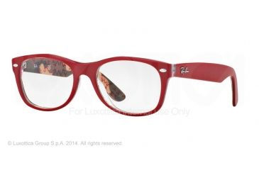 Ray-Ban New Wayfarer Eyeglasses RX5184 with No-Line Progressive Rx Prescription Lenses 5406-50 - Top Matte Red On Texture Frame