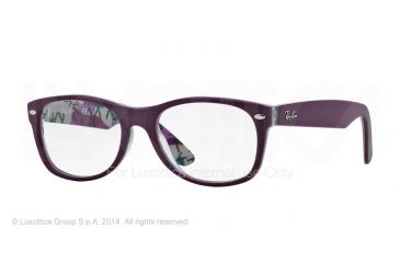 Ray-Ban New Wayfarer Eyeglasses RX5184 with No-Line Progressive Rx Prescription Lenses 5408-50 - Top Violet On Texture Frame