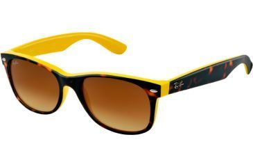 Ray-Ban New Wayfarer RB2132 Sunglasses with No-Line Progressive Rx Prescription Lenses RB2132-601485-5218 - Lens Diameter 52 mm, Frame Color Top Havana on Yellow