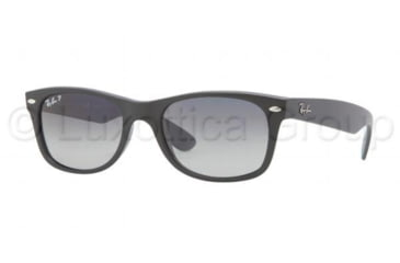 Ray-Ban New Wayfarer Sunglasses RB2132 601S78-5218 - Matte Black Frame, Polarized Blue Gradient Gray Lenses
