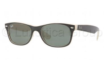 Ray-Ban New Wayfarer Sunglasses RB2132 875-5218 - Black Beige Frame, Crystal Green Lenses