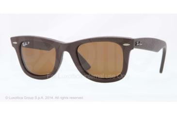 Ray-Ban ORIGINAL WAYFARER RB2140QM Sunglasses 1153N6-50 - Brown Leather Used Frame, Polar Neophan Brown Lenses